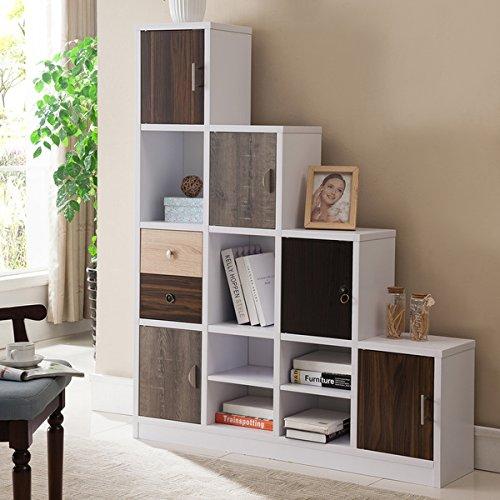 Furniture of America Arla White Multi-storage Staircase Bookcase/Display Shelf Storage Mahogany 5 Shelf Bookcase