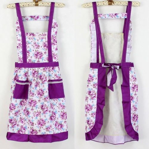 Floral Print Womens Kitchen Waterproof Apron With 2 Pockets Cooking Cotton Apron Purple