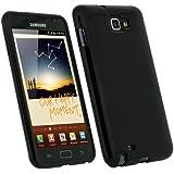 igadgitz Noir Étui Housse Brillant en Gel Cristal TPU pour Samsung Galaxy Note N7000 + Protecteur d'écran