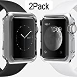 For Apple Watch Case 42mm Thinnest Most Lightweight Screen Protector Case Cover TPU Slim All-around Protective Cases Fit for Apple Watch / Watch Sport / Watch 2015(42mm) Crystal Clear 1Pack (Color: watch-42-clear-1pack caseHQ, Tamaño: b42mm baby blue pink band back film backup battery)