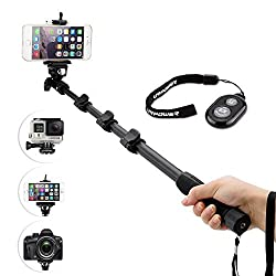 URPOWER® Handheld Monopod Selfie Stick for GoPro Hero 1 2 3 3+ 4,Camera and Cell Phone with GoPro Mount & Bluetooth Remote Control (Black)