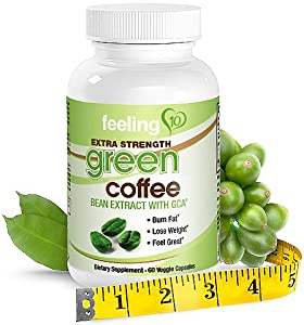 Green Coffee Bean Extract Pure With GCA - Proven Supplement For Natural Weight Loss, 60 Extra Strength 800 mg Capsules, Full 30 Day Supply