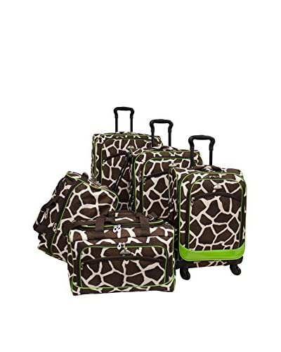 American Flyer Animal Print 5-Piece Spinner Luggage Set, Giraffe/Green