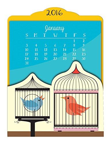 Orange Circle Studio 2016 Easel Desk Calendar Birdies