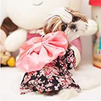 CatYou Pet Dress Up Costume Japanese Kimono With Bowknot Apparel for Dog Cat Puppy Pet