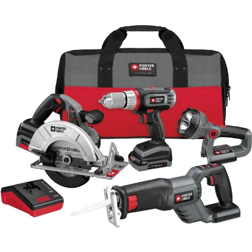 PORTER-CABLE PCL418C-2 18-Volt Lithium-Ion Cordless 4-Piece Combo Kit