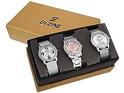 Dezine 3 Pcs Combos Of Silver Coloured Quartz Watch For Women