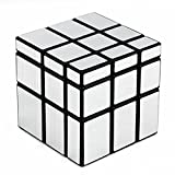D-FantiX Shengshou Mirror Cube 3x3 Speed Cube 3x3x3 Mirror Blocks Unequal Puzzle Silver Black 57mm (Color: Silver)