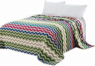 Euphoria Super Soft Fleece Prints Throw Blanket for Sofa Couch Lounge Bed Bedding Colorful Zigzag Wave Lines 180 X 200cm