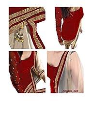 Make By India Womens Fabric Velvet Salwar Suit ( ~122-C_Red_velvet Salwar Suits )