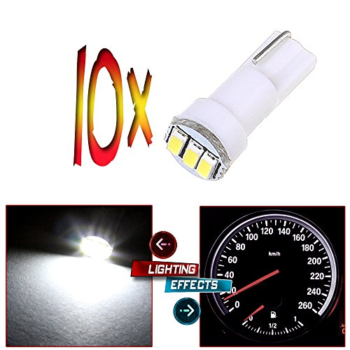 CCIYU 10x T5 73 Wedge 3-3014SMD Instrument Gauge Dash Light LED Bulbs White For 1996-1997 1999-2003 GMC Yukon XL 1500 K3500 Suburban K2500 K1500 Savana 1500 Sierra 2500 HD (1997 Toyota Tercel Dash Parts compare prices)