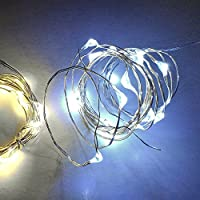 Qualizzi® Starry Lights Mini - Cool White + Free Ebook: 20 Micro Led Battery Operated Lights on 6.56ft /2m Silver Wire. by Qualizzi Products