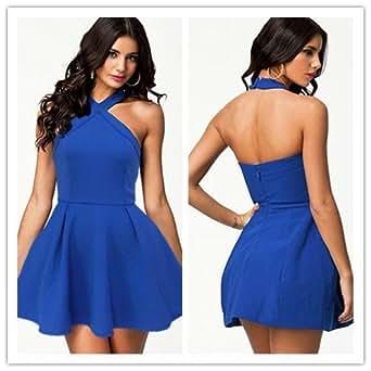 Amazon.com: Vestidos De Celebridades Royal Blue Mini Skater Dress
