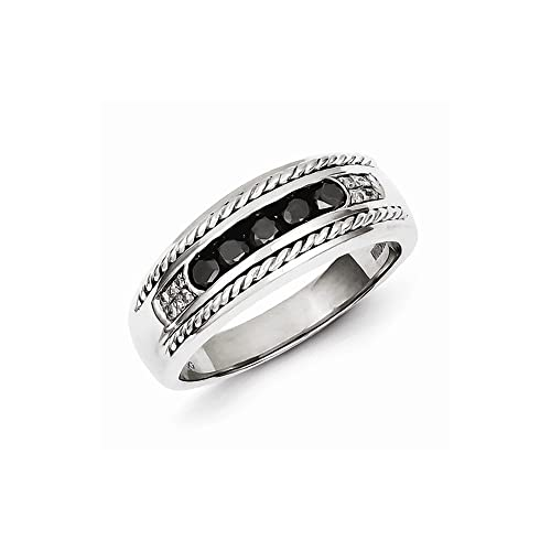 Sterling Silver Black and White Diamond Men's Ring