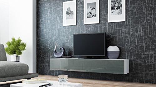 TV-Board-Lowboard-Migo-Hngeschrank-Wohnwand-180cm-Wei-Matt-Grau-Hochglanz