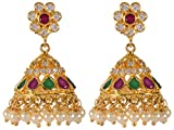 Violet & Purple Gold Alloy Jhumki Earrings for Women (1000031112)