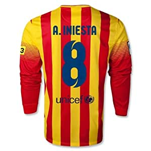 Amazon.com : A.INIESTA #8 NEW L/S BARCELONA AWAY LONG SLEEVES LFP 2013