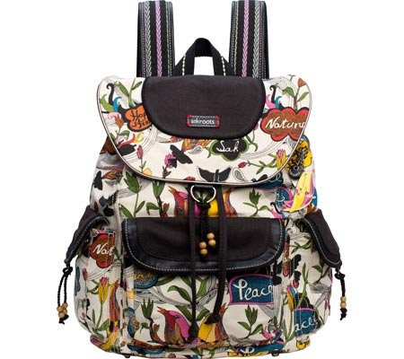 Sakroots Artist Circle Flap Backpack, White Peace, One Size
