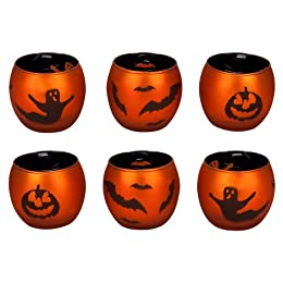 Orange Metallic Halloween votives s/6 : Target
