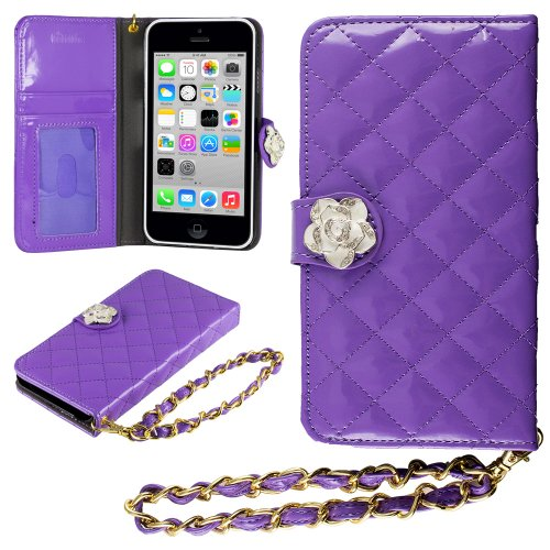 Hhi Iphone 5S, 5C & 5 Quilted Purse Wallet Case Purple With Crystal Flower Bling And Hand Strap (Package Include A Handhelditems Sketch Stylus Pen) front-48356