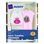 Avery T-shirt Transfers for Inkjet Printers, 8.5 x 11 Inches, for use with White or Light Colored Fabric, 6 Sheets (03271)