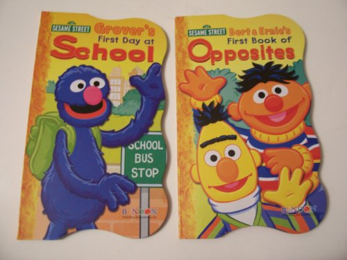 Sesame Street 2 Shaped Board Book Set ~ First Book of Opposites and First Day of School (2010)