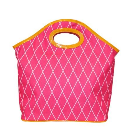 Pink & Orange Crosshatch Lunch Tote Reusable Bag