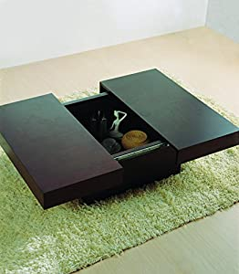 BH Design Square Motion Storage Coffee Table, 39 by 39 by 13-Inch, Wenge