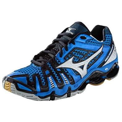 Mizuno Men's Wave Tornado 8 Volleyball Shoes - Blue & Silver (7)