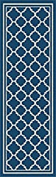 Universal Rugs Indoor Outdoor Moroccan Tile 2 ft. 7 in. x 7 ft. 3 in. Runner , Navy