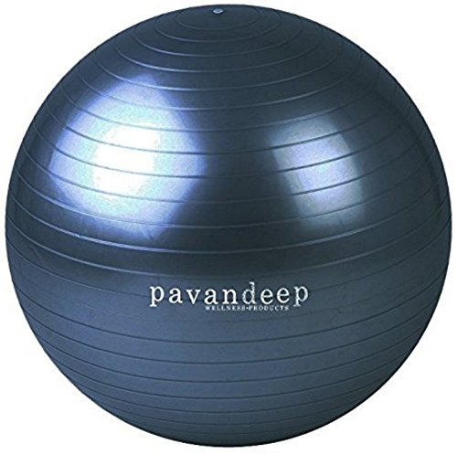2000lbs Exercise Stability Ball By Pavandeep Anti Burst Perfect for Pilates Yoga Gym Fitness Fitballing | Use As Desk Chair | Pump Included | Phthalate FREE (Charcoal New, 55cm)