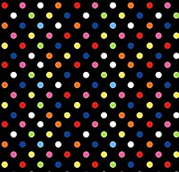 SheetWorld Fitted Pack N Play (Graco) Sheet - Primary Colorful Dots Black Woven - Made In USA