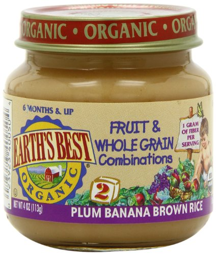 Earth's Best Organic Plum Banana Brown Rice Fruit and Whole Grain Combo, 4 Ounce Jars (Pack of 12)