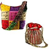 #7: Stop Here Combo Of Chabeela Handmade Jaipur Special Multicolour Handbag And Elegant Jaipur Heavy Work Potli Red