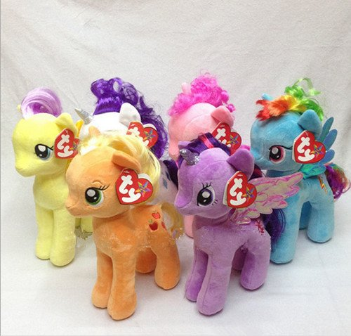 "Grace847 My Little Pony Friendship Magic Collection: Rarity, Pinkie Pie, Applejack, Fluttershy, Rainbow Dash, Twilight Sparkle 6.5"" tall plush toys with sparkle hair 2015 version"