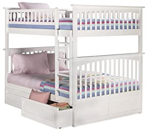 6 Atlantic Furniture Columbia Bunk Bed Full Over Full In White 2