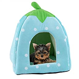 Super Soft Pet Dog Cat Indoor Sleeping Bag Rabbit Bed House Kennel 2 in 1 Pet House Sofa Sleeping Bed Pet Lovely Strawberry Cave Bed (Blue, Large)