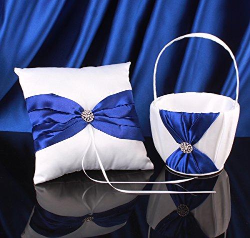 Topwedding White Satin Blue Bow Ring Pillow and Flower Girl Basket Set (Flower Girl Basket Blue compare prices)