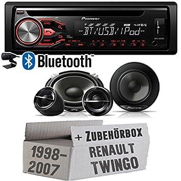 Renault Twingo ab 1998 - Pioneer Bluetooth DEH-4800BT & 13cm Lautsprecher System TS-G133ci - Einbauset