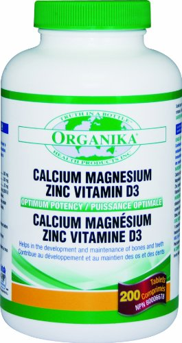 Organika Calcium & Magnesium With Zinc & Vitamin D3, Optimum Potency, 200 Tablets