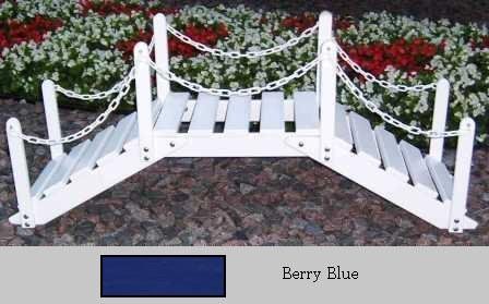 Prairie Leisure Design 47B Berry Blue Decorative Garden Bridge With Posts And Chain - Berry Blue