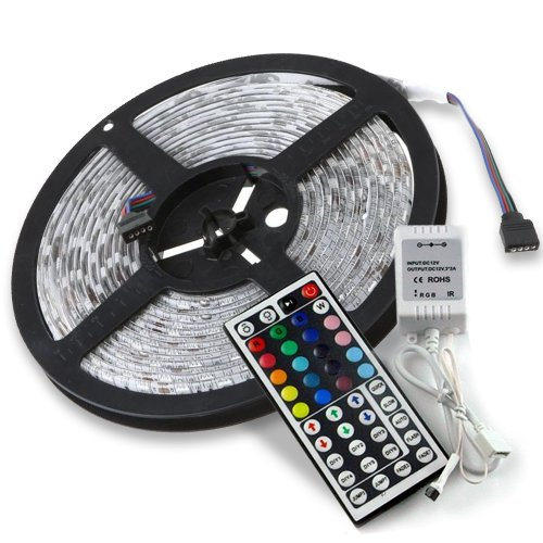 16.4Ft(5M) 5050 300Leds/Pc Rgb Multi-Color Waterproof(Ip-65) Smd Flexible Strip Light With 44Key Ir Remote Controller