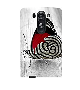 RED AND WHITE BUTTERLY PIC 3D Hard Polycarbonate Designer Back Case Cover for LG G3 Beat :: LG G3 Vigor :: LG G3s :: LG g3s Dual