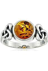 Honey Amber Sterling Silver Celtic Ring