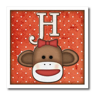 3dRose ht_102811_2 Cute Sock Monkey Girl Initial Letter H-Iron on Heat Transfer for White Material, 6 by 6-Inch