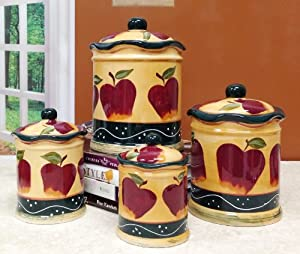 Http Www Amazon Com Kitchen Decor Country Apple Canister Dp B007pjy8z2