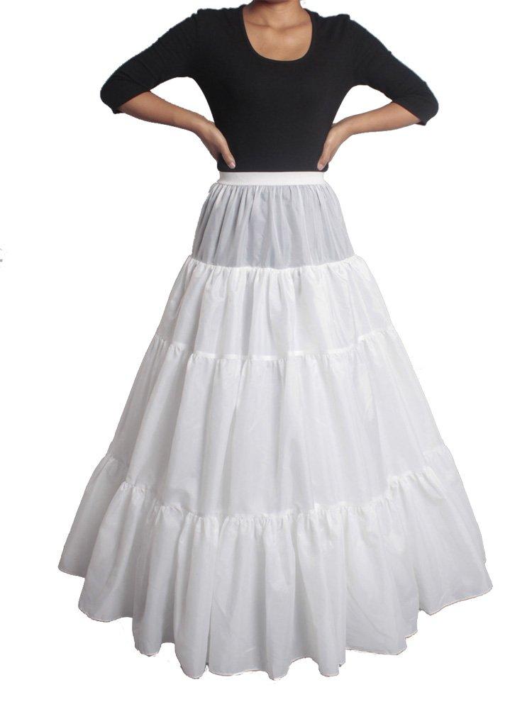 XYX Frauen-Hochzeits PetticoatUnderskirt Schlupf Krinoline A-Linie WEISS XS-M