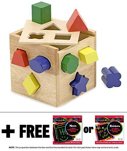 Wooden Shape Sorting Cube Classic Toy + FREE Melissa & Doug Scratch Art Mini-Pad Bundle [05753] - 1