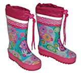 Gummistiefel bunte Blumen rosa pink trkis - mit Reflektor - Gren 20 bis 35 Kinder Naturkautschuk Punkte gepunktet zum Schnren