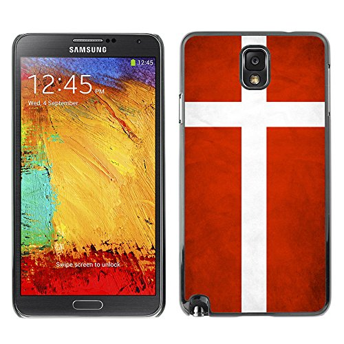 Omega Case Strong & Slim Polycarbonate Cover - Samsung Galaxy Note 3 Iii ( Denmark Grunge Flag )